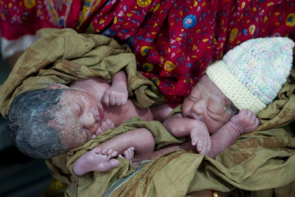 Few hours old twin babies are seen at Pailarkandi union, Baniac. Save the Children