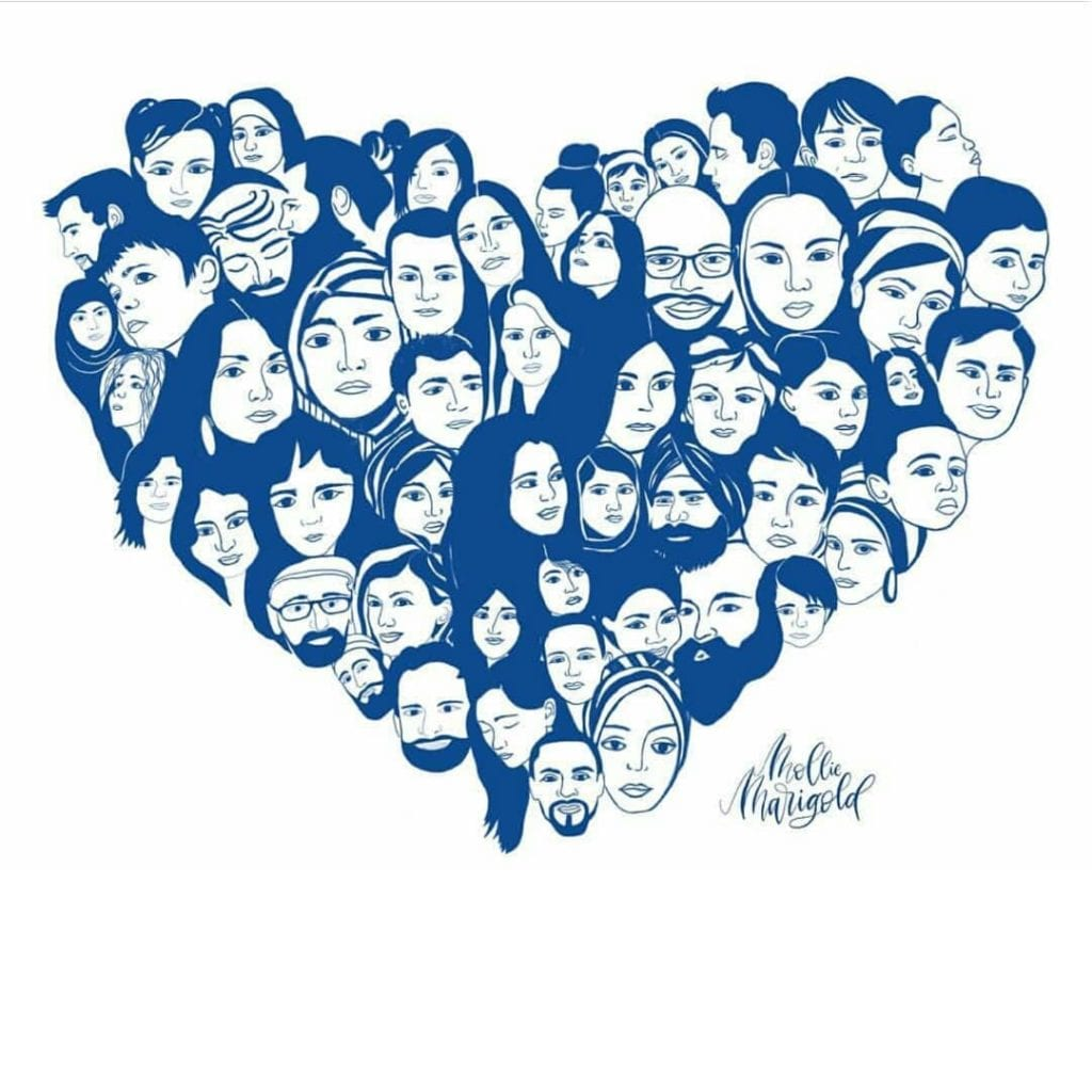 Art By Mollie Marigold Poway Synagogue Shooting April 2019 Heart with Jewish Faces