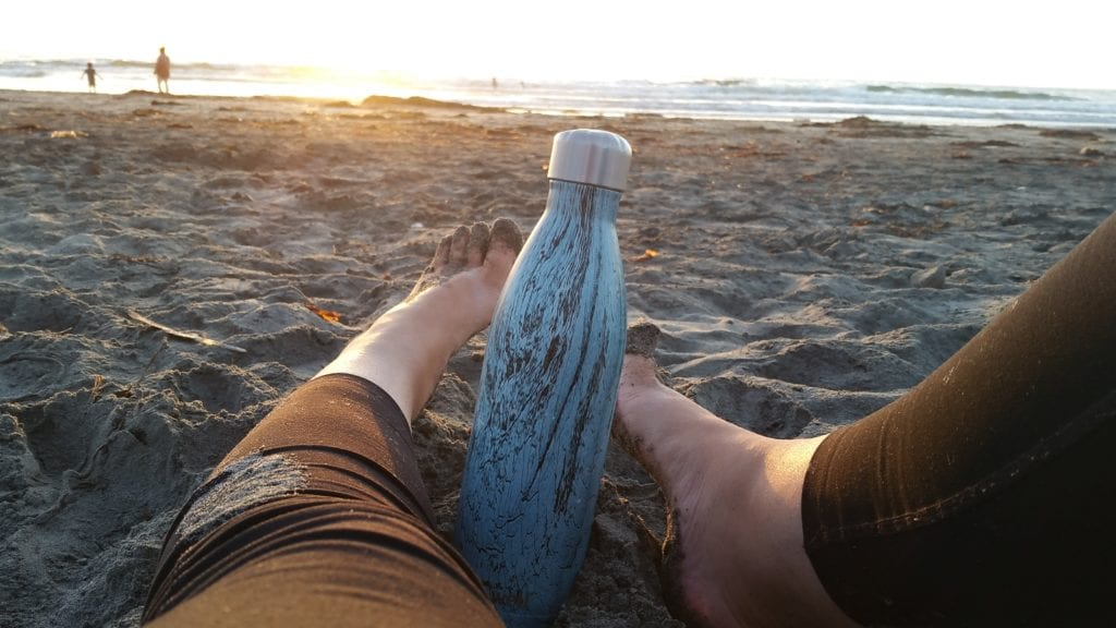 Swell Bottle on the beach in San Diego from Causebox