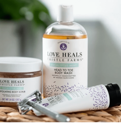 Love Heals Thistle Farms body wash, lotion, chapstick for ethical gifts under $10